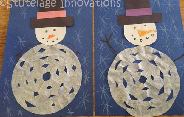 stutelage innovations    coffee filter snowflake snowman
